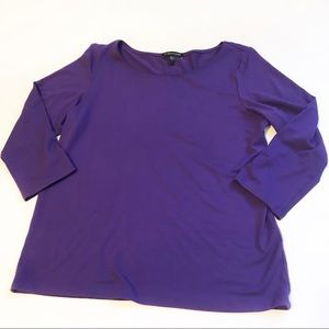 Eileen Fisher Purple 3/4 Sleeve Top Sz S